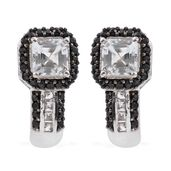 Asscher Cut White Topaz, Thai Black Spinel Platinum Over Sterling Silver J-Hoop Earrings TGW 6.38 cts.