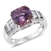 Asscher Cut Anahi Ametrine, White Topaz Platinum Over Sterling Silver Ring (Size 6.0) TGW 5.70 cts.