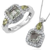 Asscher Cut Green Amethyst, Hebei Peridot, Cambodian Zircon Platinum Over Sterling Silver Ring (Size 8) and Pendant With Chain (20 in) TGW 5.90 cts.