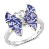 Premium AAA Tanzanite, Cambodian Zircon Platinum Over Sterling Silver Butterfly Ring (Size 7.0) TGW 1.93 cts.