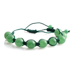 Green Aventurine Beads Bracelet on Green Cord (Adjustable) TGW 70.00 cts.