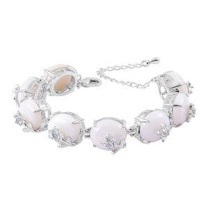 White Shell, Austrian Crystal Silvertone Floral Bracelet (6.00-8.00In) TGW 76.00 cts.