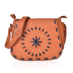 Santa Fe Style Cognac Faux Leather Studded Crossbody Bag (10x4x8)