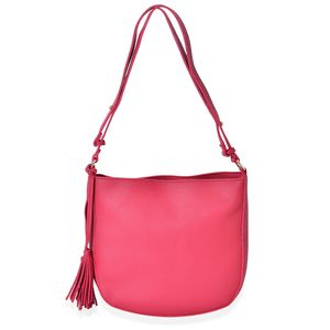Red Faux Leather Crossbody Bag with Tassel (11x2.3x10.4 in)