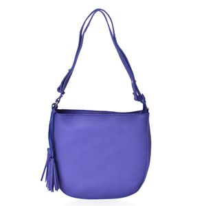 Blue Faux Leather Crossbody Bag with Tassels (11x2x11 in)