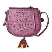 Burgundy Laser Cut Faux Leather Crossbody Bag (8.4x2.6x7.1 in)