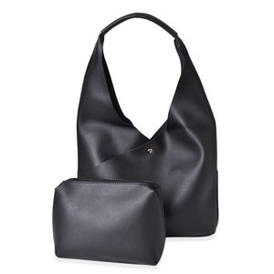 Black Faux Leather Hobo Bag (16x5x12 in) with Matching Pouch (11x8 in)