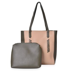 Cream and Olive Green Tote and Pouch Bag in Faux Leather