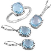 Doorbuster Sky Blue Topaz Platinum Over Sterling Silver Lever Back Earrings, Ring (Size 8) and Pendant With Stainless Steel Chain (20 in) TGW 13.22 cts.