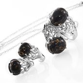 Mojave Black Turquoise Stainless Steel Earrings, Ring (Size 6) and Pendant With Chain (20 in) TGW 13.22 cts.