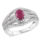 Burmese Ruby, Cambodian Zircon Platinum Over Sterling Silver Openwork Ring (Size 6.0) TGW 2.45 cts.