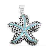 Santa Fe Style Kingman Turquoise Sterling Silver Starfish Pendant without Chain TGW 1.50 cts.