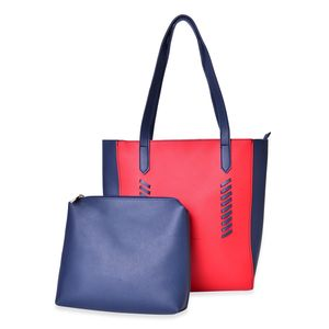 Navy and Red Set of 2 Faux Leather Tote (13x1x11 in) and Matching Pouch (10x8 in)