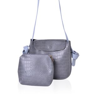 Grey Crocodile Embossed Faux Leather Set of 2 Handbag (9.6x3.2x9.2 in)