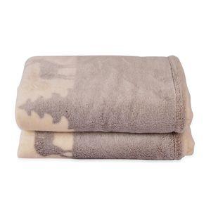 Beige Deer and Starry Pattern Microfiber Flannel Blanket (59.05x78.74 in)