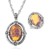 One Day TLV Kennedy Range Mookaite Black Oxidized Stainless Steel Ring (Size 8) and Pendant With Chain (20 in) TGW 15.00 cts.