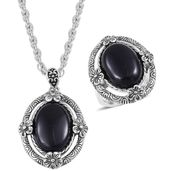One Day TLV Black Onyx Black Oxidized Stainless Steel Ring (Size 8) and Pendant With Chain (20 in) TGW 15.00 cts.