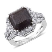 Asscher Cut Natural Silver Saphire, Cambodian Zircon Platinum Over Sterling Silver Ring (Size 9.0) TGW 10.37 cts.