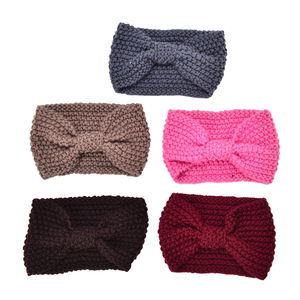 Set of 5 Multi Color 100% Polyester Winter Bow Tie Hairband (7x4 in)