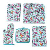Bird Print 65% Cotton and 35% Polyester Kitchen Set- Apron, Kitchen Towel, Pot Holder and Oven Mitt with Matching Bag