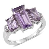 Rose De France Amethyst, White Topaz Platinum Over Sterling Silver Ring (Size 9.0) TGW 4.71 cts.