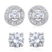 Set of 2 Simulated Diamond Sterling Silver Stud Earrings TGW 4.08 cts.