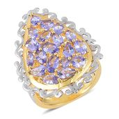 Tanzanite 14K YG Over Sterling Silver Cluster Ring (Size 7.0) TGW 3.31 cts.
