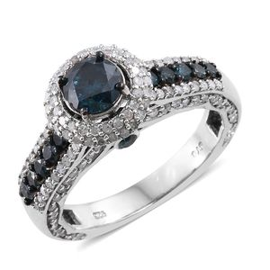 Blue Diamond (IR), Diamond Platinum Over Sterling Silver Royal Ring (Size 9.0) TDiaWt 2.50 cts, TGW 2.50 cts.