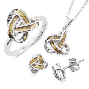 Yellow Diamond (IR) Platinum Over Sterling Silver Knotted Earrings, Ring (Size 5) and Pendant With Chain (20 in) TDiaWt 1.00 cts, TGW 1.00 cts.