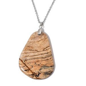 Picture Jasper Silvertone Pendant With Stainless Steel Chain (24 in) TGW 170.00 cts.