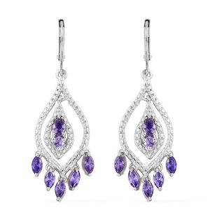 KARIS Collection - Simulated Blue Diamond ION Plated Platinum Bond Brass Earrings TGW 3.50 cts.