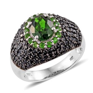 Russian Diopside, Thai Black Spinel Black Rhodium & Platinum Over Sterling Silver Ring (Size 7.0) TGW 4.45 cts.