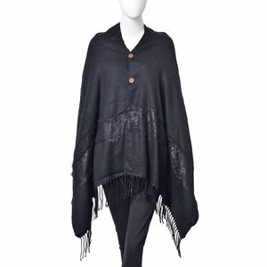 Black 100% Acrylic Shawl with Tassels (28.35x78.74 in)