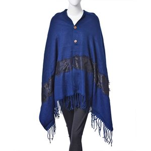 Navy Blue 100% Acrylic Button Shawl or Scarf with Black Embroidered Lace and Fringes (68x28 in)