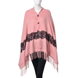 Pink 100% Acrylic Button Shawl or Scarf with Black Embroidered Lace and Fringes (68x28 in)
