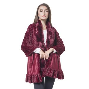 Red Rose Pattern 100% Polyester Velvet Faux Fur Wrap(70x29 in)