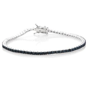 Blue Diamond (IR) Platinum Over Sterling Silver Bracelet (7.50 In) TDiaWt 0.33 cts, TGW 0.33 cts.