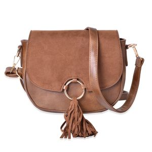 Brown Faux Leather Saddle Bag with Snap Button Closure (8.5x3x7 in)