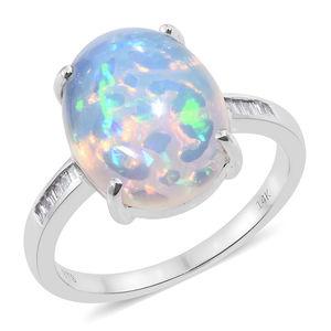 14K WG Ethiopian Welo Opal, Diamond Ring (Size 7.0) TDiaWt 0.12 cts, TGW 6.12 cts.