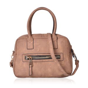 Tan Faux Leather Satchel Bag (11x5.3x7.4 in)
