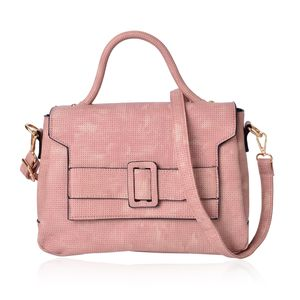 Blush Faux Leather Satchel Bag (11.2x4.4x8.4 in)
