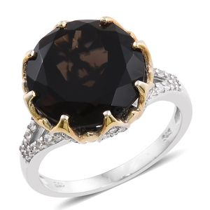 Doorbuster Brazilian Smoky Quartz, Cambodian Zircon 14K YG and Platinum Over Sterling Silver Split Cocktail Ring (Size 7.0) TGW 13.54 cts.