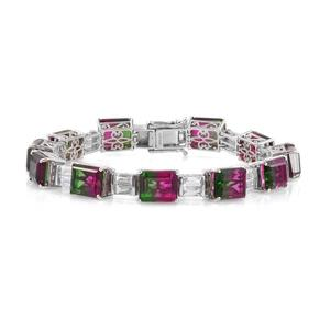 Doorbuster Watermelon Quartz Triplet, White Topaz Platinum Over Sterling Silver Statement Bracelet (7.50 In) TGW 44.25 cts.