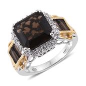Asscher Cut Brazilian Smoky Quartz, Cambodian Zircon 14K YG and Platinum Over Sterling Silver Ring (Size 7.0) TGW 10.01 cts.