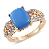 Ceruleite, Pink Tourmaline, Cambodian Zircon 14K YG Over Sterling Silver Ring (Size 10.0) TGW 4.82 cts.