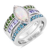 Ethiopian Welo Opal, Multi Gemstone Platinum Over Sterling Silver Stackable Ring (Size 7.0) TGW 3.24 cts.