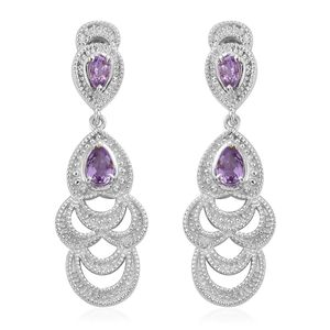 KARIS Collection - Bolivian Amethyst Platinum Bond Brass Drop Earrings TGW 1.08 cts.