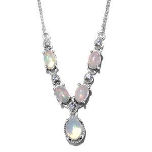 Ethiopian Welo Opal, Tanzanite Platinum Over Sterling Silver Necklace With Chain (18 in) TGW 1.65 cts.