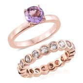 Set of 2 Rose De France Amethyst, Simulated Diamond ION Plated 18K RG Stainless Steel Eternity Band and Solitaire Rings (Size 8.0) TGW 4.55 cts.