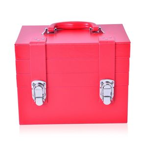 Red 4-Tier Faux Leather Buckle Jewelry Box with Handle and Latch Closure (10.75x6.5x8.25 in)